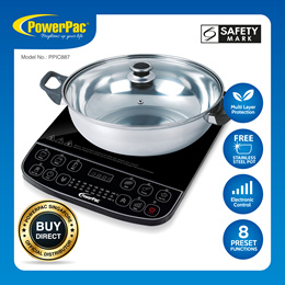 PowerPac Induction Cooker Steamboat with Stainless Steel Pot (PPIC887)