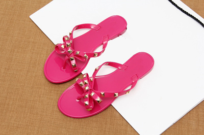 60b60fbfa wholesale 2019 fashion women sandals flat jelly shoes bow V flip flops stud  beach shoes summer