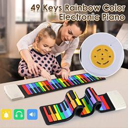 49键手卷钢琴 儿童入门键盘乐趣硅胶琴 彩虹版手卷琴 儿童电子琴