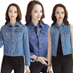 Women Denim Jackets Fleece Sleeve Denim Jacket Denim Vest Navy Wash Blue Denim outwear