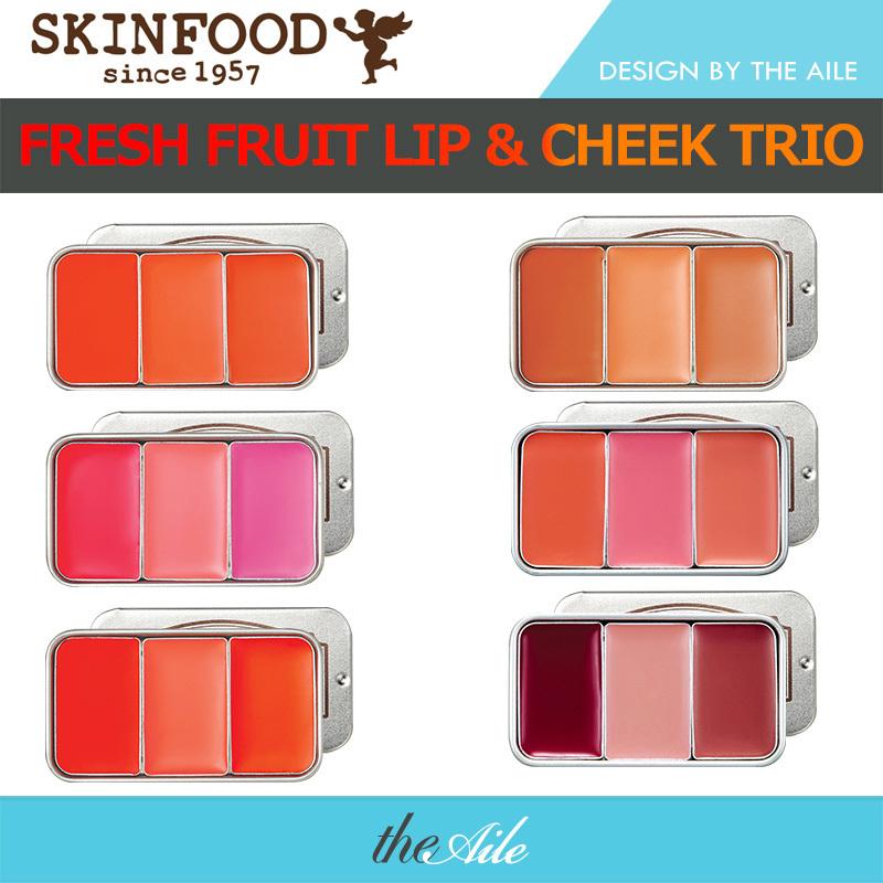 【100正品·韓國直送】Skinfood Fresh Fruit Lip  Cheek Trio 三色唇頰 唇頰兩用鮮果三色彩妝盒6色可选