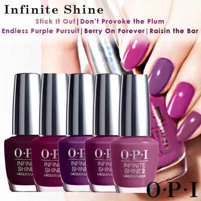 Opi Infinite Shine Stick It Out Dont Provoke The Plum Endless Purple