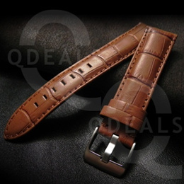 Tan Croc Grain Genuine Leather Watch Strap Band Suits Rolex Panerai IWC Longines Omega-20/22/24mm