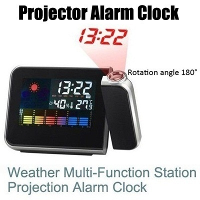 Digital LCD Screen LED Projector Alarm Clock Mini Desktop Multi-function  Weather Station