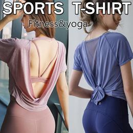 【Moving Peach】t shirt Sports wear Sports t-shirt yoga vest Korea style sports T-shirtyoga