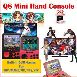 Q8 Mini Handheld Console Built-in 530 Retro Classic Games 2.8 Inch Screen NESS NES MAME MD GBA