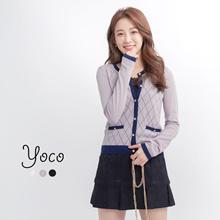 YOCO - Colourblocked Patterned Cardigan-170382