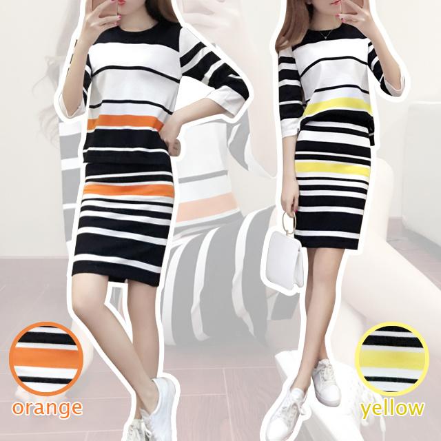 【送料無料】マルチボーダー ツーピースドレス セットアップ 3/4袖 ペンシルスカート