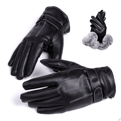 Gloves Mens Winter Leather Gloves Warm and Windproof Cold Non-Slip Outdoor Riding Thickening Plus Velvet Leather Windproof Gloves Black Biking Gloves Accessories