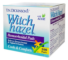[Qprime]Dickinsons Witch Hazel Hemorrhoidal Pads with Aloe 100 Pads