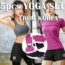 【Korea 】5 pcs Yoga Set / Sports bra / Running Attire Lowest price Runing set sports bra+pants+Tshit