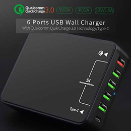 Quick Charge 3.0 USB Wall Charger 6 Port Power Adapter type c usb for phone