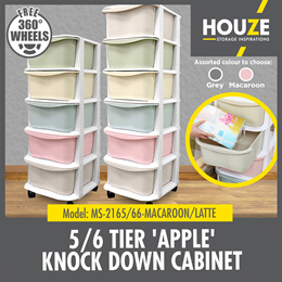 ONLINE EXCLUSIVE ♦ 5 / 6 Tier Apple Knock Down Cabinet ♦ Strong And Durable ♦ 2 Colors ♦ PP Plastic