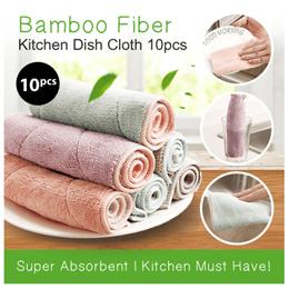 10 pcs    Bamboo Fiber Dish Towel Dishcloth Cleaning Cloths Kitchen Mop Dish Towel
