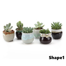 T4U Small Ceramic Succulent&Cactus Plant Pots Pack of 6 Table Top Windowsill for Home&Office Decorat