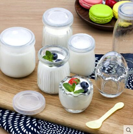 Glass with lid baby bottle egg shell mousse jelly bottle vertical pudding yogurt bottle hibiscus cup