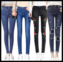 cb81aa50c26 NewHigh Waist Jeans Tight Trousers Elastic Pencil Pants Breasted Women Jeans