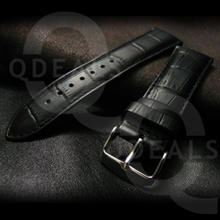 Black Croc Grain Genuine Leather Watch Strap Band Suits Rolex Panerai IWC Longines Omega-20/22/24mm