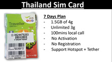 Thailand Sim Card *  7 Days Unlimited 3g 100mins local calls * Travel Sim Card * Prepaid Sim Card