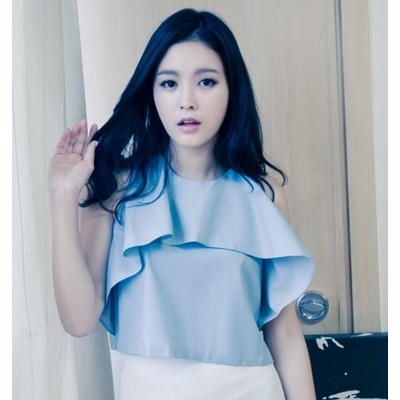 11. flap chest blouse - skyblue - free