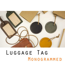 Monogrammed Luggage Tag ♥ Personalized Gift ♥ Premium Calf Leather ♥ Travel