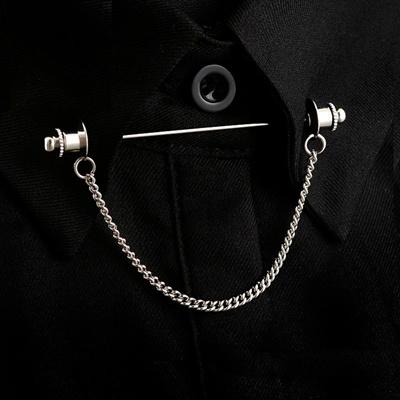OBN Brand Gold/Silver Chain Hat Head MensTie Collar Pin Brooch Tie Stick  Pin Shirt with Collar Bars