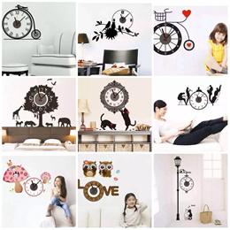 Wall Sticker Clock / DIY / Wall Decal / Room Deco Decoration / Cinderella / Birds / Office / Living / Child / Baby / Adult / Elegant / Cute / Fun / Sweet / Romantic