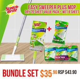 [Official E-Store] Scotch-Brite Easy Sweeper Plus Paper Wiper Mop[FOC Dry Sheets 20s n Wet sheet 8s]