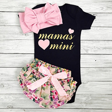 cd035b56451 0-24 Months Mamas Mini 3PCS Baby Girls Suit Clothes Black Romper Floral  Shorts with Headband