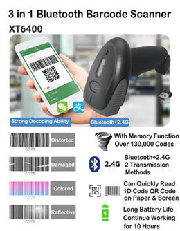 1D/2D BLUETOOTH/2.4G/Wired BARCODE SCANNER QR Code Scanner Handheld 2.4G Wireless/Wired Double Conn