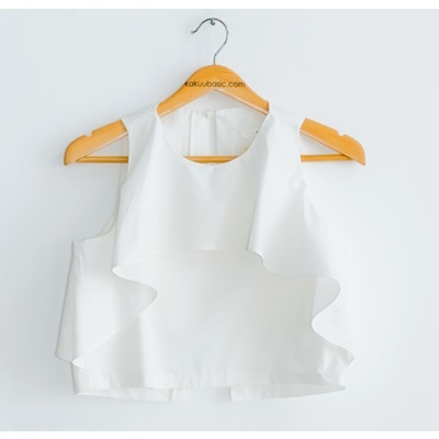 11. flap chest blouse - white - free