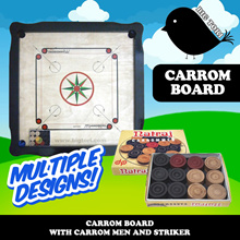 [FLASH DEAL + FREE SHIPPING] Carrom / Carrom Board with Carrom Men and Striker (Multiple Designs)