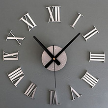 Metal Chic DIY Adhesive Silver Roman Number Wall Clock 3D Home Decor Living