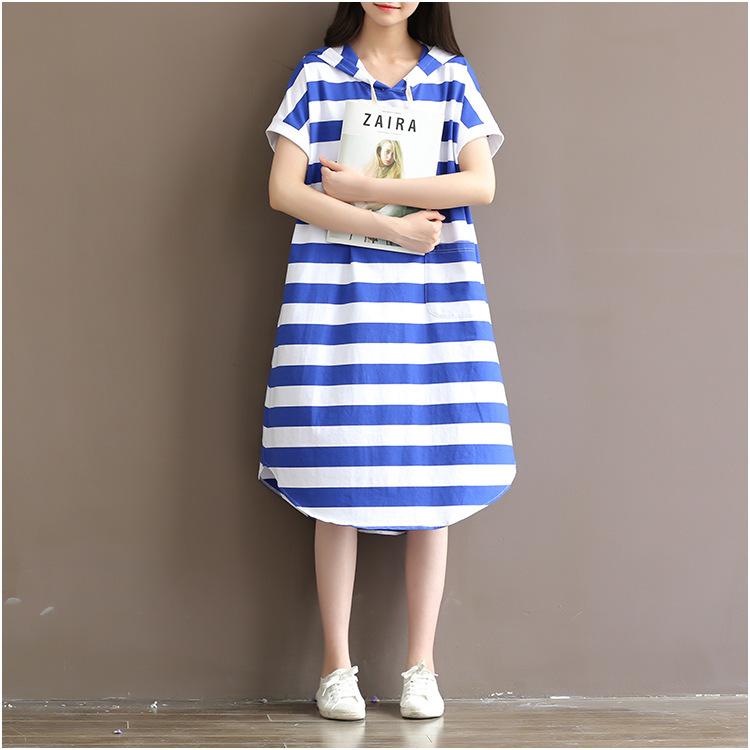 2017新品 韓国ファッション ワンピース  レディース  ストライプ  ワンピース  大きいサイズ  フード付き の  ミディアム スカート/ 上質  大人気/   D7072186