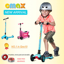 New Arrival Authentic CMAX adjustable height folded LED light scooter for kids 6 colors/2~12 years