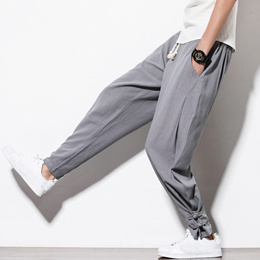 Chinese Style Spring And Autumn New Buckle Buckle Linen Loose Large Size Casual Pants MenS Feet Pant