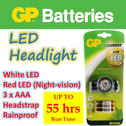 【LED Headlight】+ Head Strap ★ White / Red (Night Vision) Light ★ Includes Alkaline AAA x 3 batteries