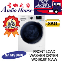 SAMSUNG WD-80J6410AW WASHER DRYER WD80 Combo with EcoBubble 8KG  [2 YEARS PARTS + 11 YEARS MOTOR AGE