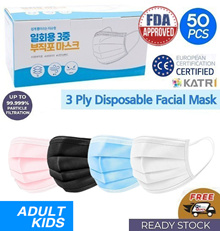 [iKoon] Triple Disposable Mask 50 Sheets 1 Box / Black White Blue Pink / Adult Kids / Lowest Promotion