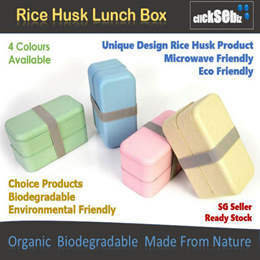 Biodegradable Eco-Friendly Rice Husk Double Layer Microwaveable Bento Lunch Box Free Utensils