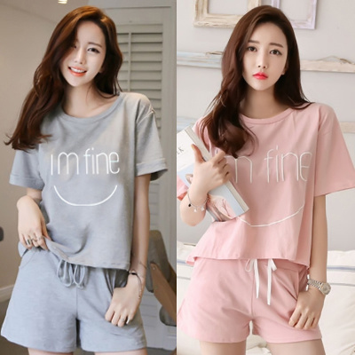 Short sleeve cotton Pajamas Women summer thin ladies girls cute summer  clothing shorts two piece sui 13ff5ed26