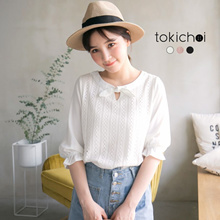 TOKICHOI - Textured Bow Detailed Blouse-180341