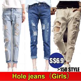 Best Price S $ 6.9 * Hole jeans / Casual Pants / Women Clothes / Denim Pants