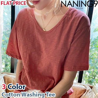 Korea fashion industry NO.1 Naning9 ☆free shipping ♥ 3Color Cotton Washing  Tee d5c8e816e80f