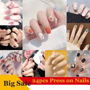 24 pieces of short wear nail patch, fake fingernail patch, ballet nail