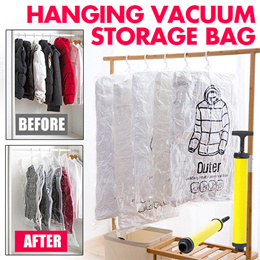 Hanging Vacuum Storage Bag Space Saver Bags for Clothers Save Wardrobe Space Closet Organizer for Co