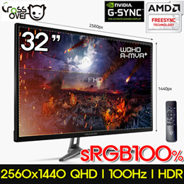 [CROSSOVER] 32inch WQHD Monitor / 100Hz / sRGB100% / HDR / With Speaker / Vesa hole