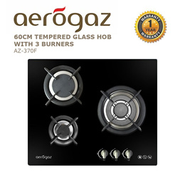 Aerogaz 60cm Tempered Glass Gas Hob with 3 burners (AZ-370F)