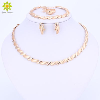 factory Fashion Wedding African Beads Jewelry Sets Dubai Gold Color  Necklace Earring Sets Costume Ro