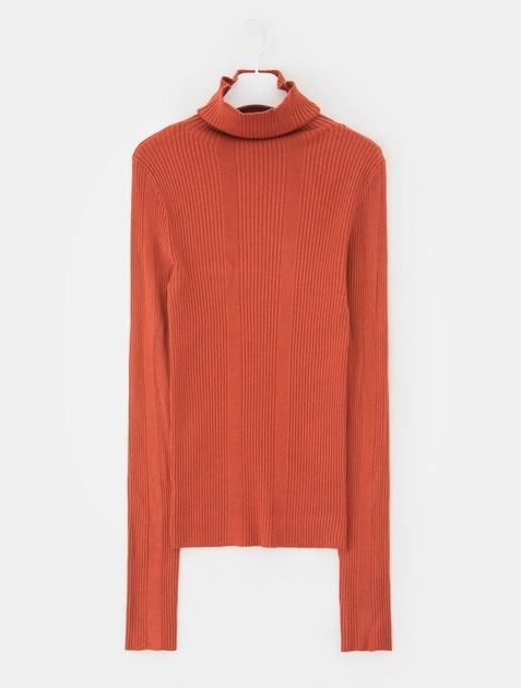 8SECONDS Slim Fit Ribbed Turtleneck Knit - Orange